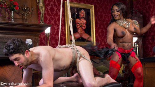 Femdom and Strapon Hot Muscular Domme Annihilates Wimpy Man Servant!