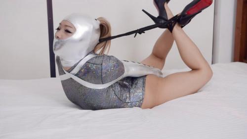 BDSM RestrictedSenses - Mina - Silver Hood and Armbinder