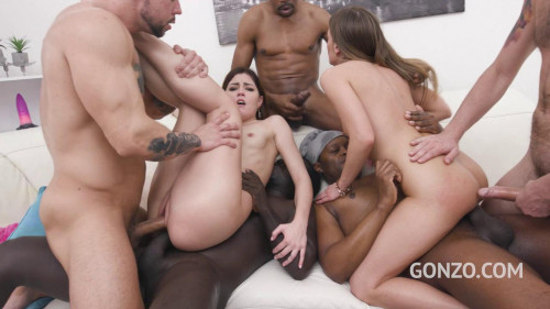 Evelline Dellai & Cindy Shine - hot orgy with 6 guys