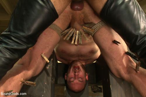 Gay BDSM 18 year old slave boy endures the most intense ball stretching on BG.