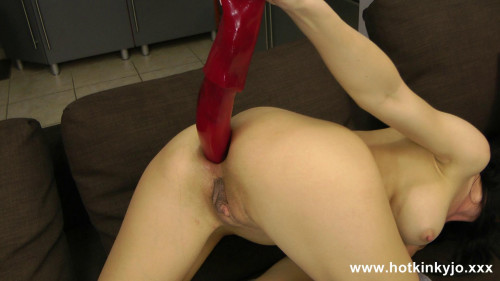 Fisting and Dildo Hotkinkyjo - Redwhite strips socks and  cock in the ass