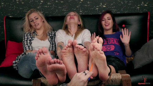 BDSM Three cute Models - You can tickle our feet!