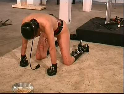 BDSM Latex Kneels and Begs For Tit Torture