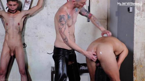 Gay BDSM Nipple torment, electro, hot wax!