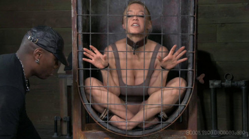 BDSM Darling blindfolded, caged and tagteamed by dick!