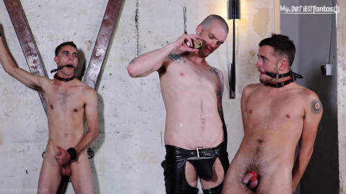 Gay BDSM Nipple torment, electro, hot wax!