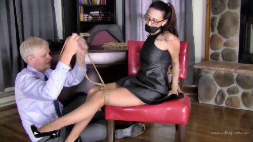 BDSM Nichole Skye : Jute Rope Bound in a Leather Dress