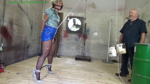 BDSM Latex Tied up for extreme crotch rope pussy punishment