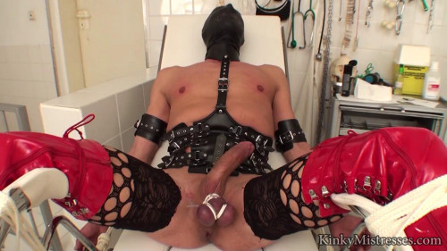 Femdom and Strapon slave in the clinic