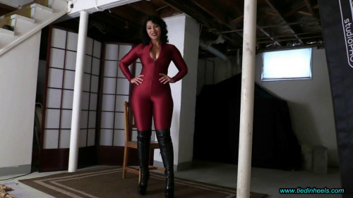 BDSM Latex Enchantress Sahrye...Red Spandex Catsuit and Sexy OTK Boots!