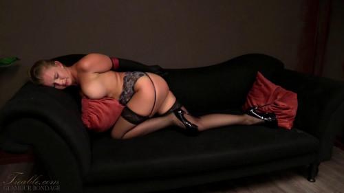 BDSM Ariel - tight gloved elbow bondage