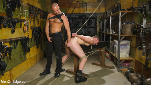 Gay BDSM Muscled House Slave Begs to Cum In Bondage