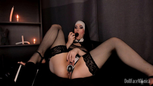 Fisting and Dildo Doll Face Monica Sinful nun dares to beg for Priest cum (2018)