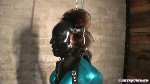 BDSM Latex Tight bondage and strappado for beautiful slut
