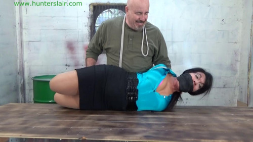 BDSM Hunterslair - Gigi - Slammed onto his table and brutally hogtied