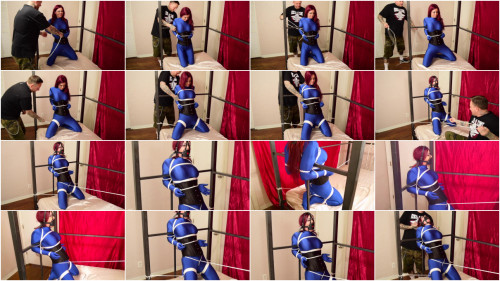 BDSM ShinyB - Sarah Brooke.. Blue Spandex Bondagegirl