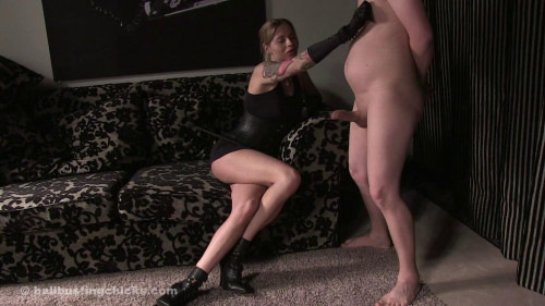 Femdom and Strapon Painful Cock Whipping