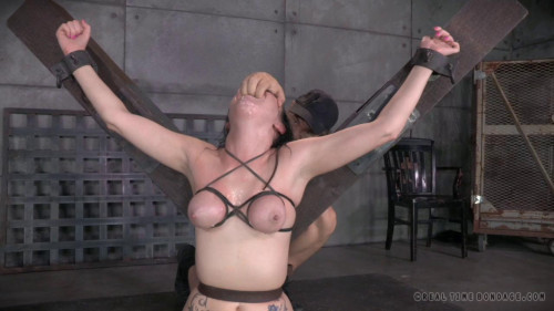 BDSM Sexy tattooed deepthroat expert Veruca James shackled onto vibrator