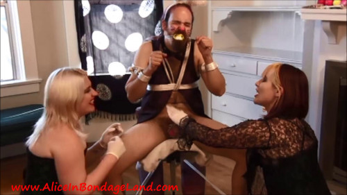 Femdom and Strapon Here Comes Peter Cottontail - Happy Easter FemDom CBT Threesome