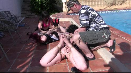 BDSM 4 Girls captured and hogtied at the Pool Side