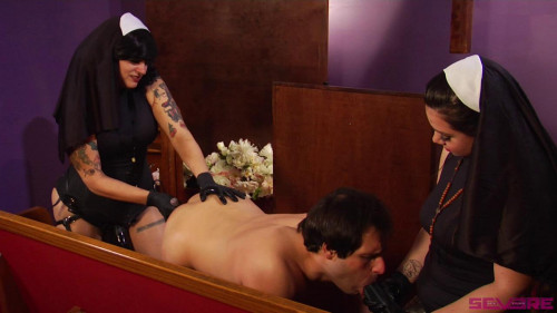 Femdom and Strapon Nuns Take Creepy Peeping Tom to Hell!