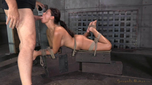 bdsm English rose Ava Dalush bound down on fucking machine
