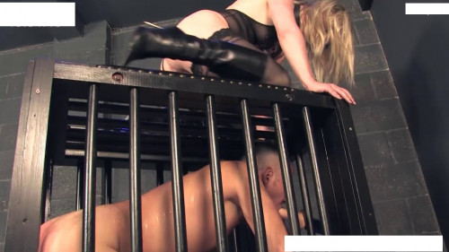 Femdom and Strapon Sex machine fucks guy that lives in a cage