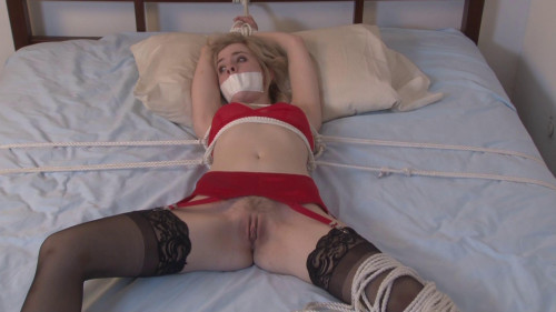bdsm Bound and Gagged - Spread on the Bed - Catie Parker