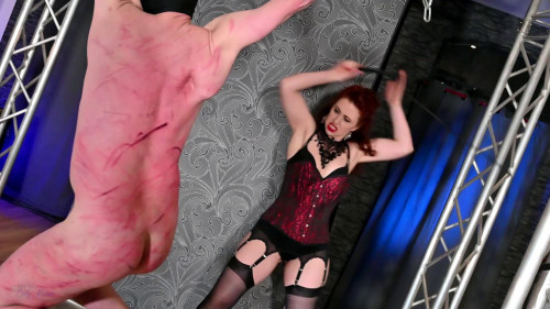 Femdom and Strapon Mistress Lady Renee Whipped In Suspence