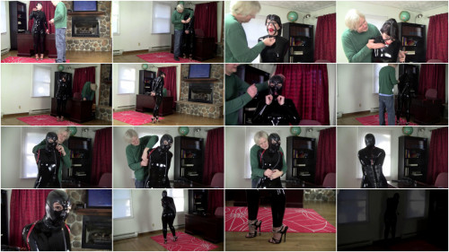 BDSM Latex Hard bondage and hogtie for hot model in latex clothes