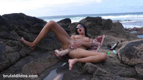 Fisting and Dildo Extreme huge anal dildo beach game