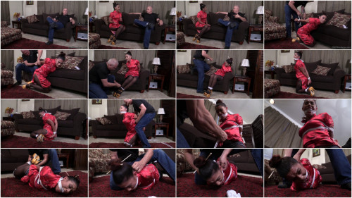 BDSM Sahrye Latina massage therapist crotch roped, hogtied gagged