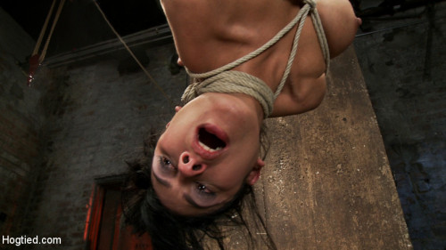 BDSM 35yr old, super hot cougar, is bound in a reverse prayer, nipple tortured, face fucked, made to cum!