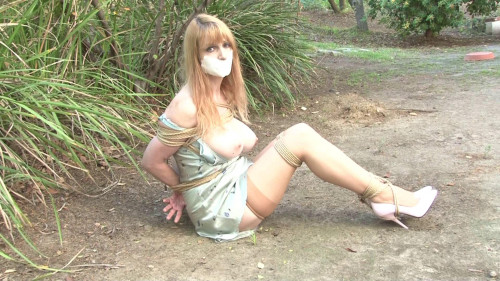 bdsm Bound and Gagged - Lorelei Hogtied in her Slip in the Dirt
