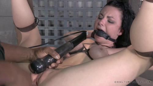 BDSM Sexy brunette strictly gagged and bound then assfucked by huge hard cock