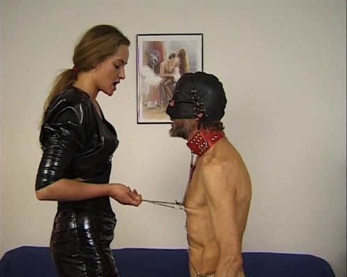 Femdom and Strapon Torturing dirty cock