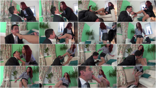 Femdom and Strapon Lady Boss Foot Reprimand