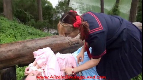 Femdom and Strapon Public Park Sissy Bondage and Chastity Humiliation Schoolyard Bully