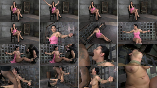 BDSM Newbie Katrina Jade with natural DDD breasts on her 1st bondage