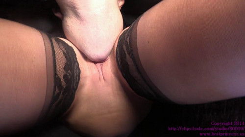 Femdom and Strapon Cuck Licks His Key Holder On His Knees And Under Her Dress