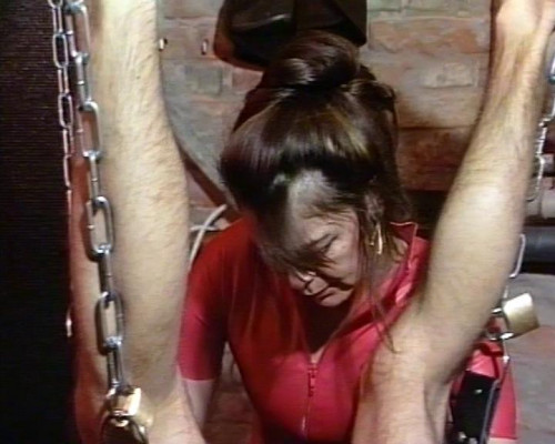 Femdom and Strapon Suspended male slave