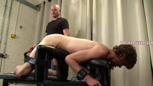 Gay BDSM Chained to discipline bench for Aiden