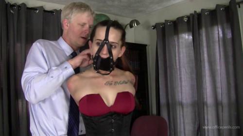 BDSM Harley Bane : Red Dress, Panel Gag, Tight Ropes