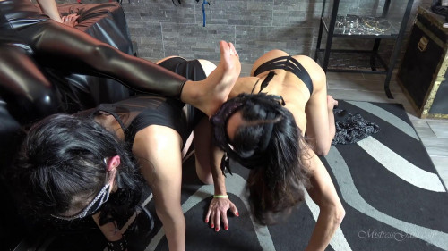 Femdom and Strapon Obedient Foot Lickers