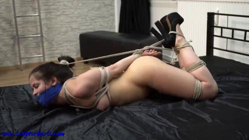 BDSM Super bondage, hogtie and domination for horny brunette Full HD