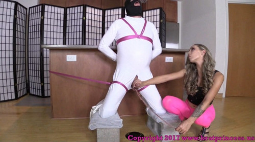 Femdom and Strapon Handjob With Slave Bound And Kneeling