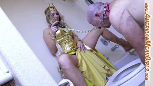 Femdom and Strapon Tongue Fuck My Toilet Clean