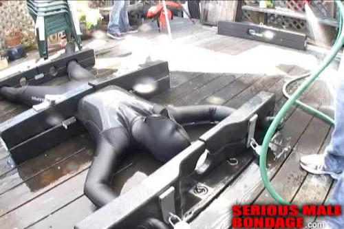 Gay BDSM Mumman Full Body Stocks On The Deck