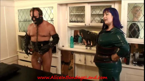 Femdom and Strapon Chastity Urethral Sounding and Anal Humiliation Rubber Threesome