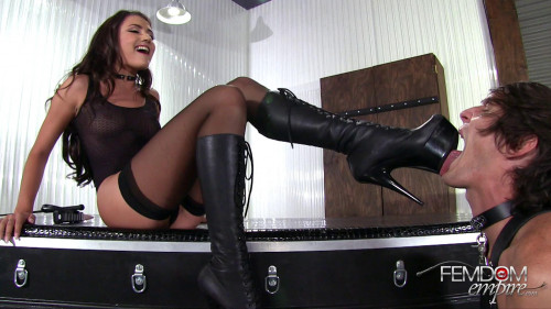 Femdom and Strapon Stiletto Boot Sucker (17 Nov 2016)